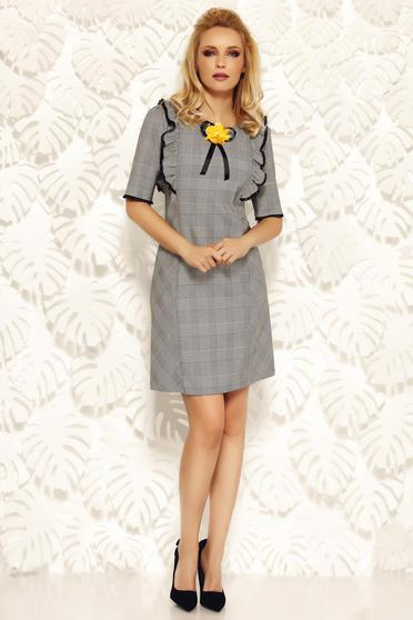 Fofy grey office with easy cut dress slightly elastic fabric with lace details