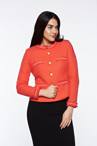 LaDonna orange elegant tented jacket nonelastic cotton with inside lining