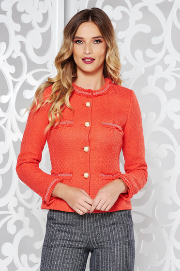 LaDonna orange elegant tented jacket nonelastic cotton with inside lining