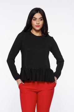 StarShinerS black women`s blouse elegant flared slightly elastic fabric with lace details