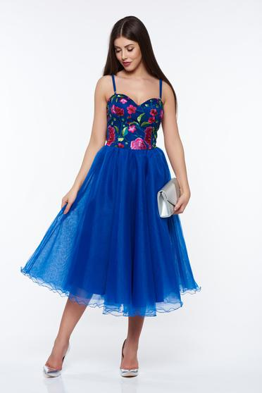 Artista blue occasional cloche dress with inside lining embroidered with push-up cups