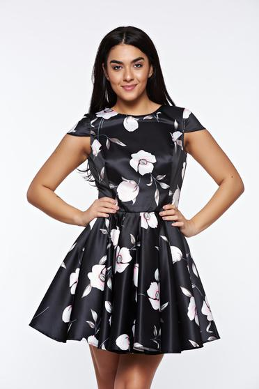 Artista black occasional cloche dress from satin fabric texture with inside lining
