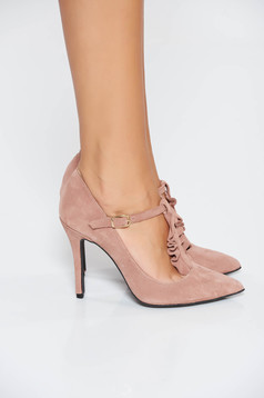 MissQ rosa elegant shoes natural leather with high heels slightly pointed toe tip