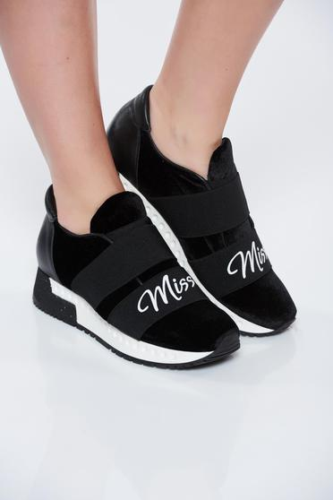MissQ black sneakers casual light sole velvet