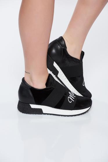 MissQ black sneakers casual light sole velvet