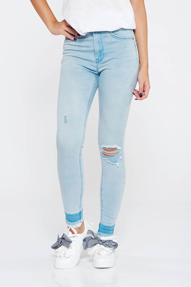 MissQ lightblue casual skinny cotton jeans with medium waist with ruptures