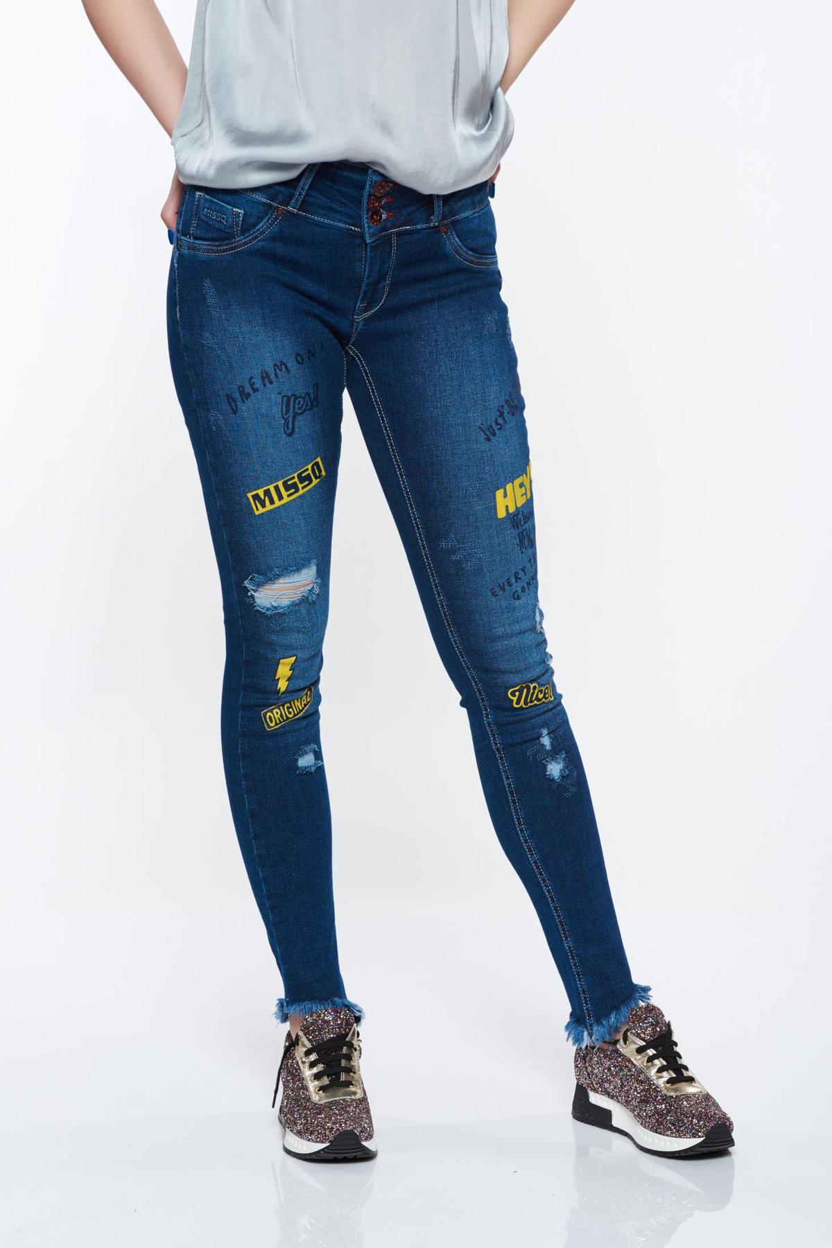 Blugi skinny MissQ albastri-inchis casual cu talie medie din bumbac elastic cu print