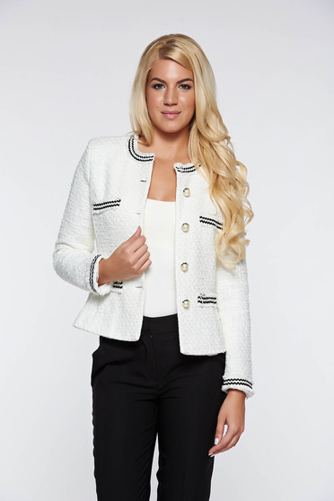 LaDonna white elegant tented jacket nonelastic cotton with inside lining