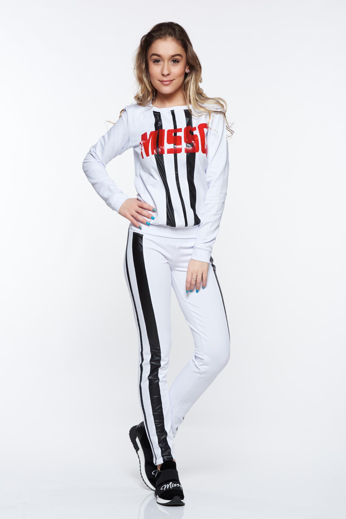 Set MissQ alb sport din bumbac cu print