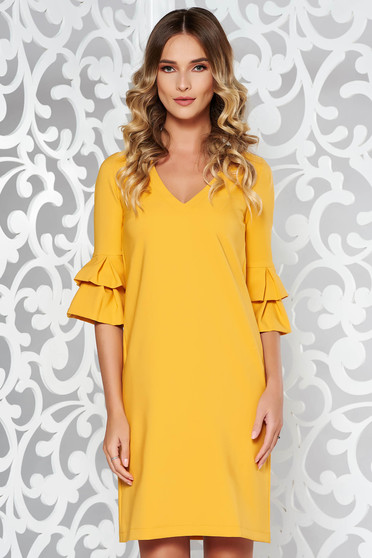 StarShinerS mustard office flared dress slightly elastic fabric with wrinkled sleeves