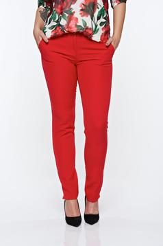 PrettyGirl red elegant conical trousers with medium waist with pockets slightly elastic fabric
