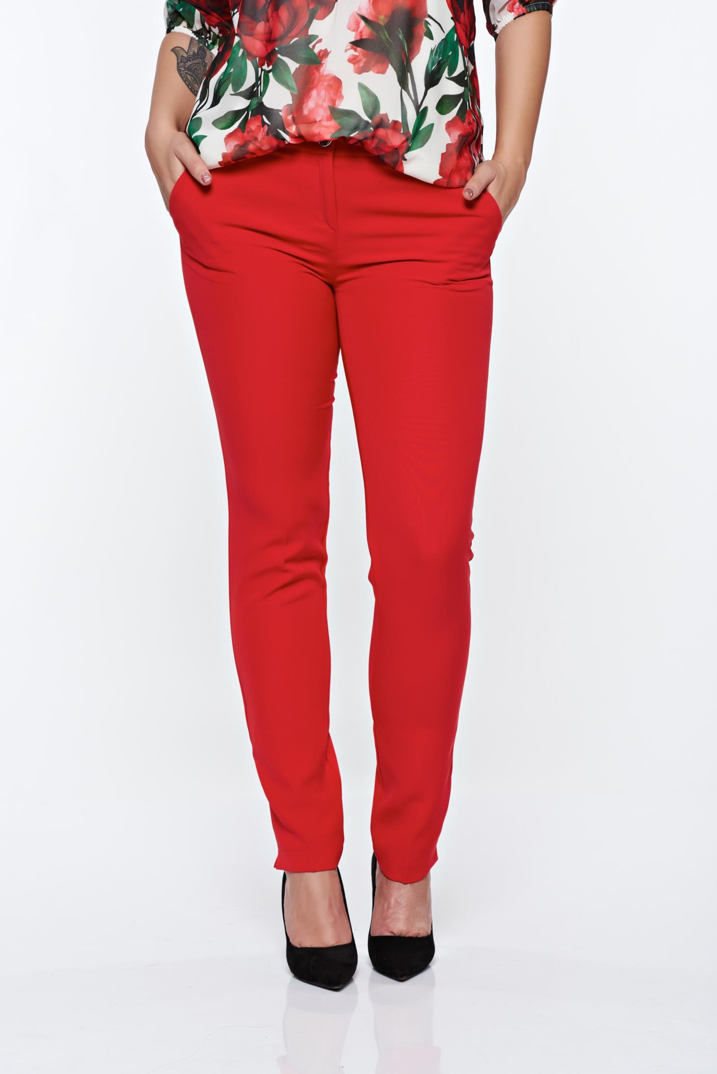 368a8daeb8 Piros PrettyGirl elegáns kónikus nadrág zsebes enyhén rugalmas anyag