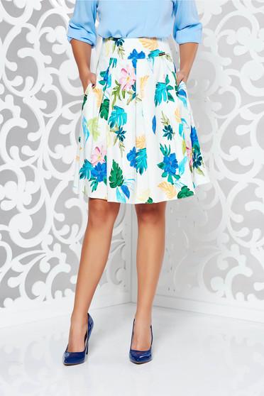 PrettyGirl white office cloche skirt cotton with medium waist with inside lining