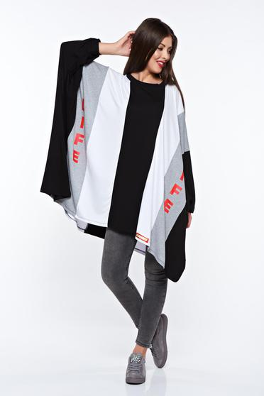 MissQ black women`s blouse casual cotton flared with print details