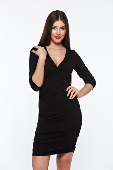 MissQ black dress casual from elastic fabric with v-neckline wrap around