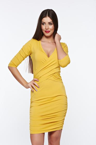 MissQ mustard dress casual from elastic fabric with v-neckline wrap around