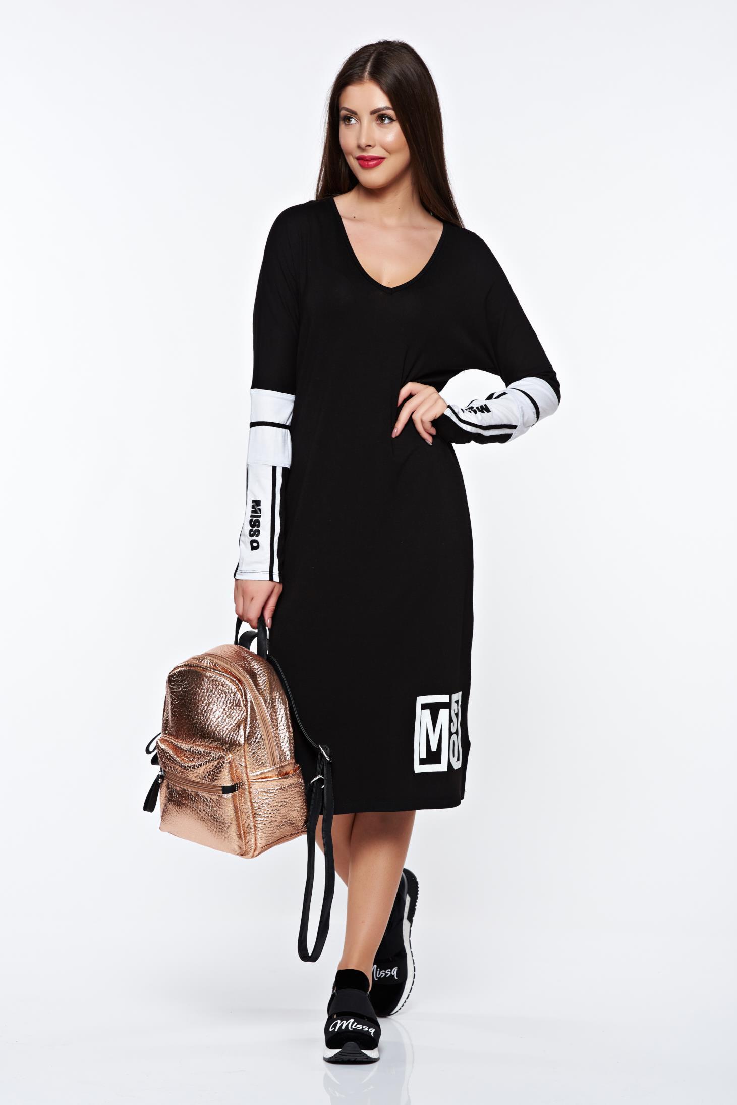 6562595be2 Fekete MissQ ruha casual bő szabású rugalmas anyag v-dekoltázzsal