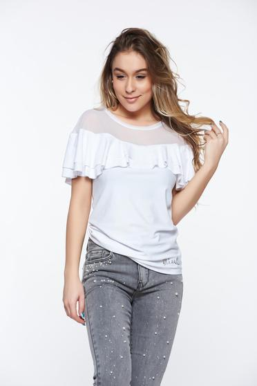 MissQ white casual women`s blouse with tented cut from elastic fabric with ruffle details