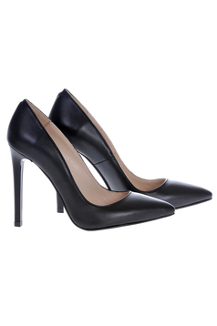 Black shoes natural leather stiletto with high heels slightly pointed toe tip