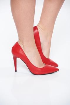 Red shoes natural leather with high heels slightly pointed toe tip