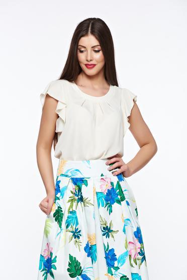 LaDonna nude women`s blouse elegant transparent chiffon fabric with easy cut