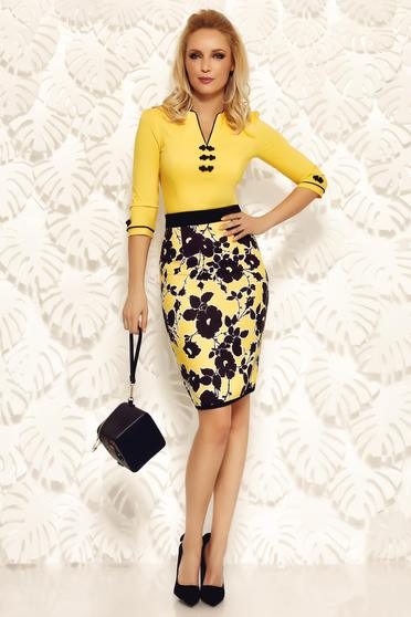 Fofy yellow office high waisted pencil skirt soft fabric