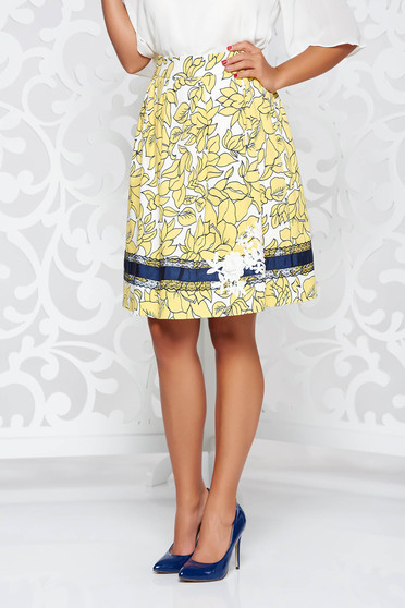 LaDonna yellow elegant cotton cloche skirt handmade applications with inside lining
