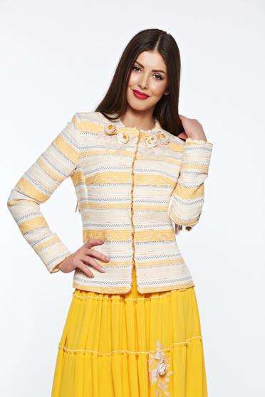 LaDonna yellow elegant cotton jacket with inside lining handmade applications