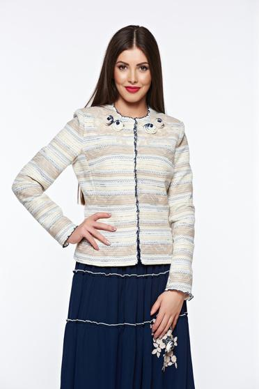 LaDonna cream elegant cotton jacket with inside lining handmade applications
