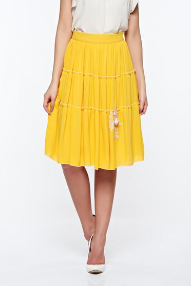 LaDonna yellow elegant high waisted cloche skirt with inside lining handmade applications
