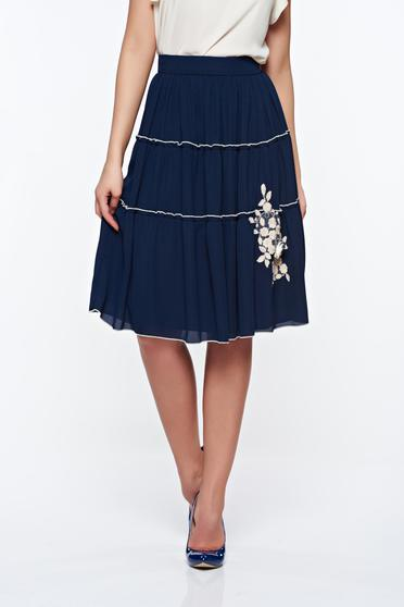 LaDonna darkblue elegant high waisted cloche skirt with inside lining handmade applications