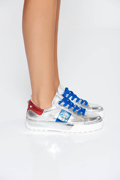 Silver casual sneakers natural leather low heel with pearls