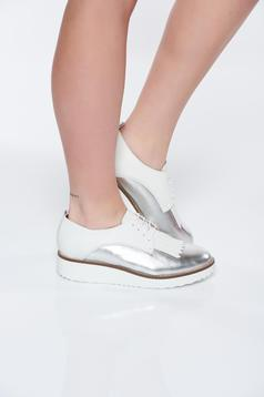 Silver casual leather shoes low heel