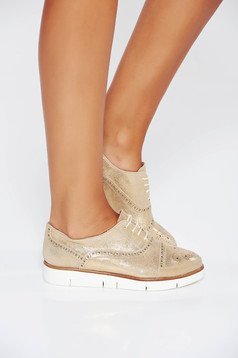 Gold casual leather shoes low heel with lace