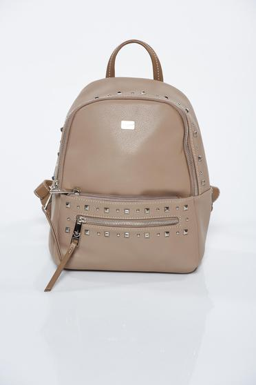 Cream casual backpacks with metallic spikes from ecological leather