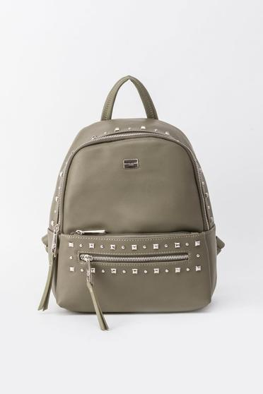 Khaki casual backpacks with metallic spikes from ecological leather