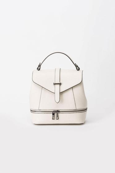 Cream casual backpacks natural leather zipper accessory