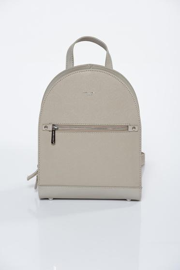 Cream casual backpack from ecological leather