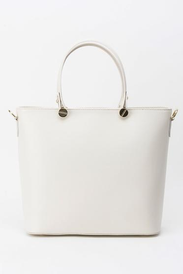 Cream office bag natural leather long, adjustable handle