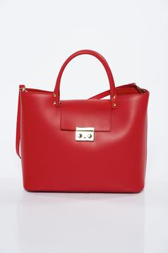 Red bag office natural leather with metalic accessory