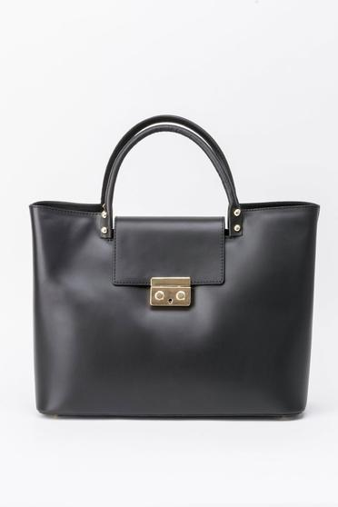Black bag office natural leather with metalic accessory