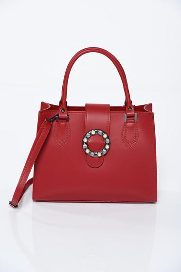 Red office bag natural leather with pearls
