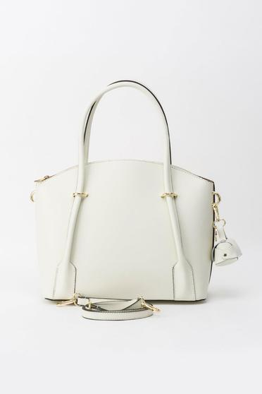 Nude natural leather office bag with two compartments and inside pockets