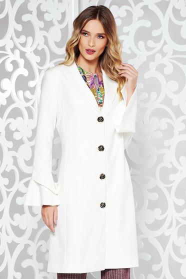 LaDonna white elegant trenchcoat slightly elastic fabric with inside lining