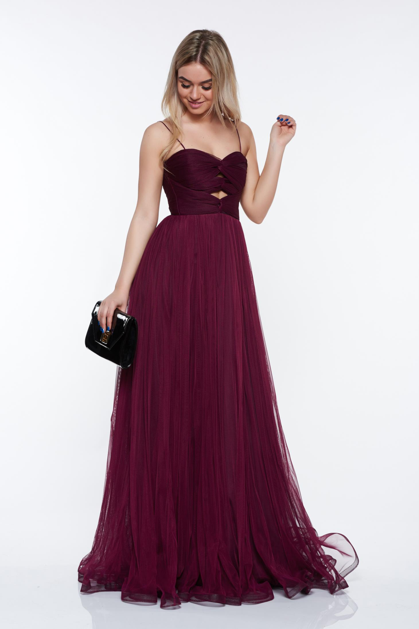 Ana Radu purple luxurious dress from tulle with inside lining with push-up cups off shoulder