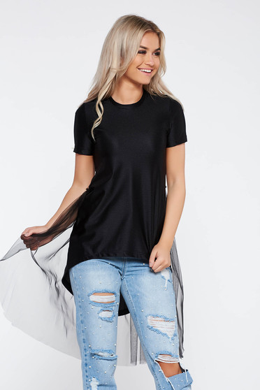 StarShinerS black casual cotton asymmetrical t-shirt with net accessory
