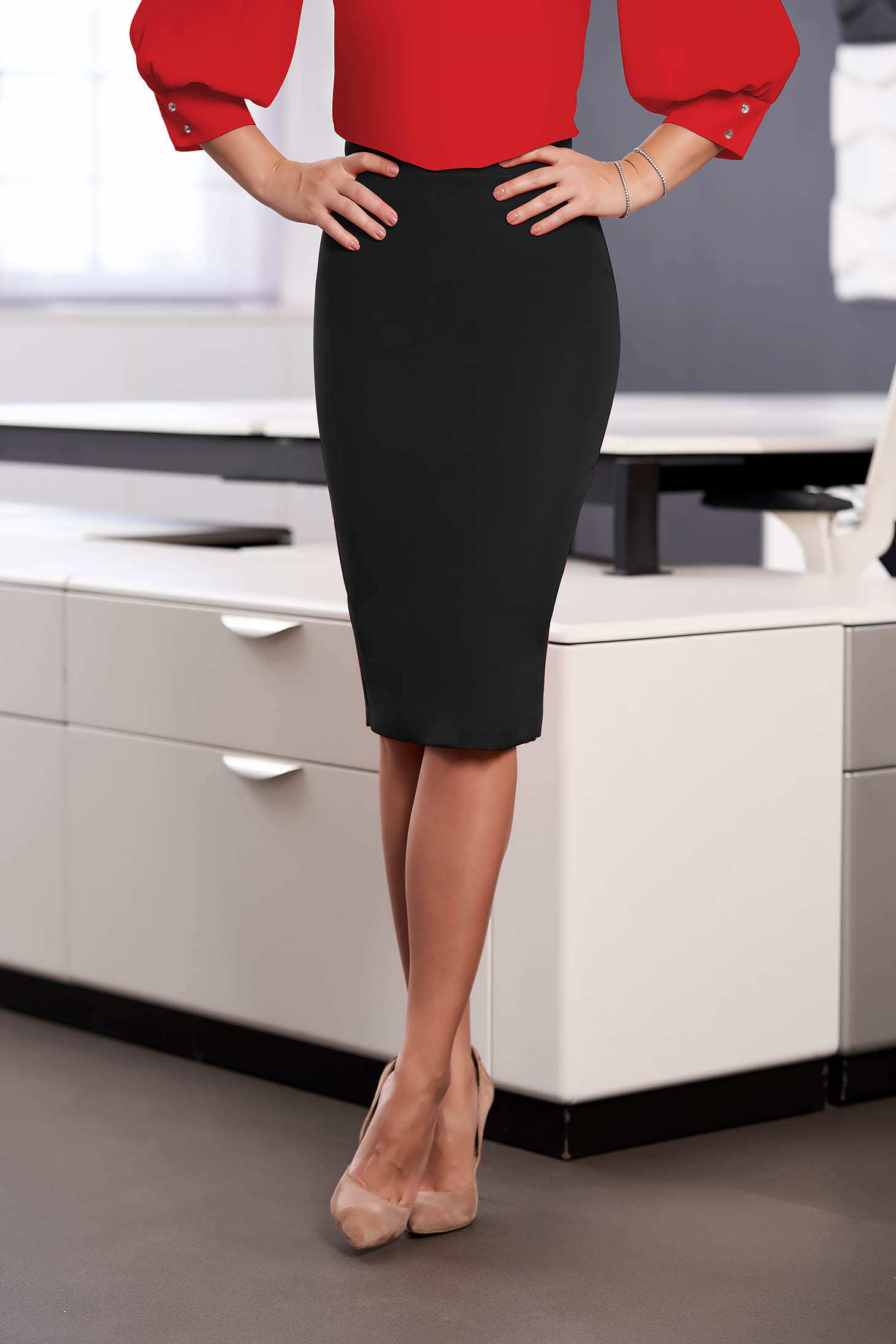 Fusta StarShinerS neagra office tip creion cu talie inalta din material usor elastic