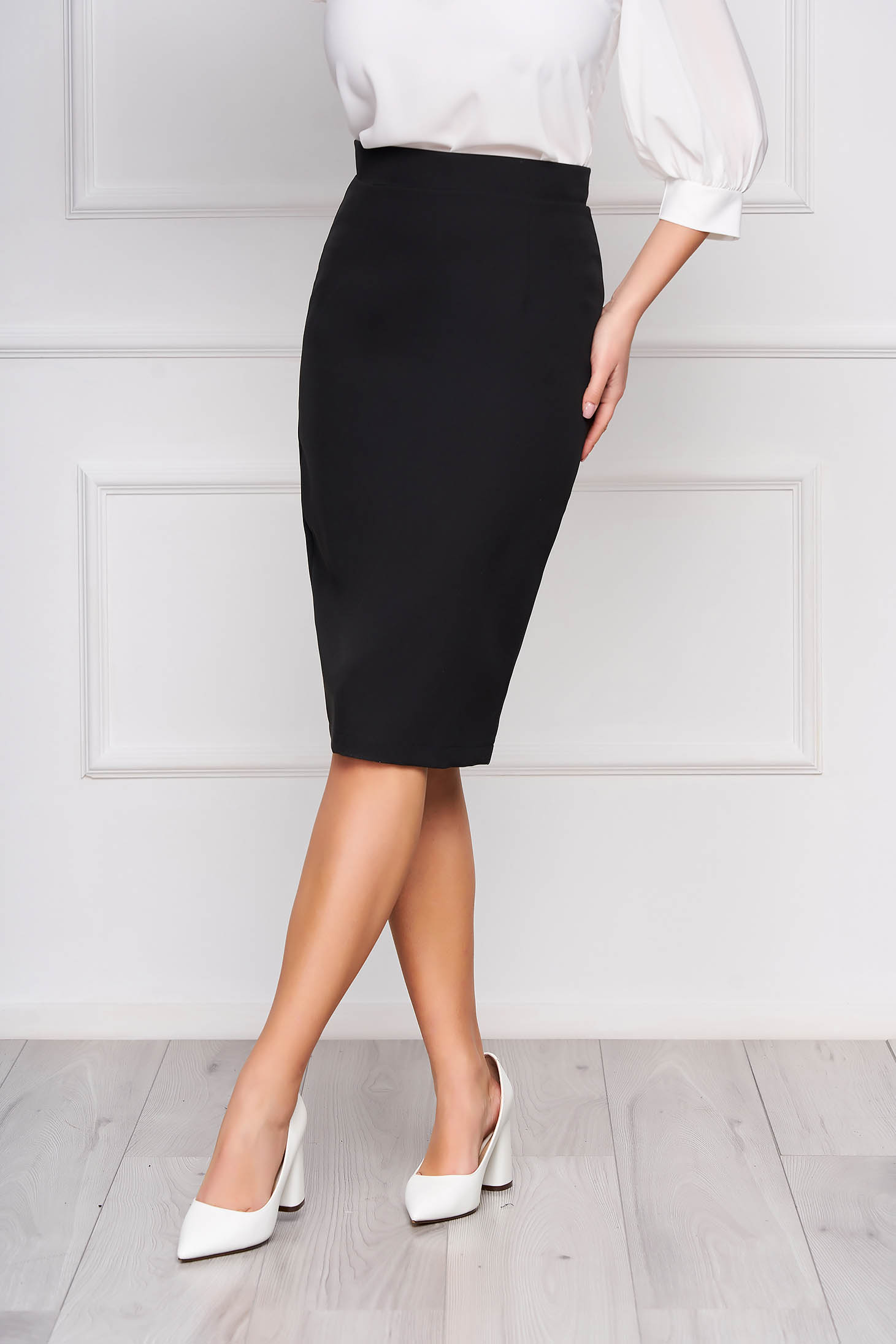 StarShinerS black high waisted office pencil skirt slightly elastic fabric