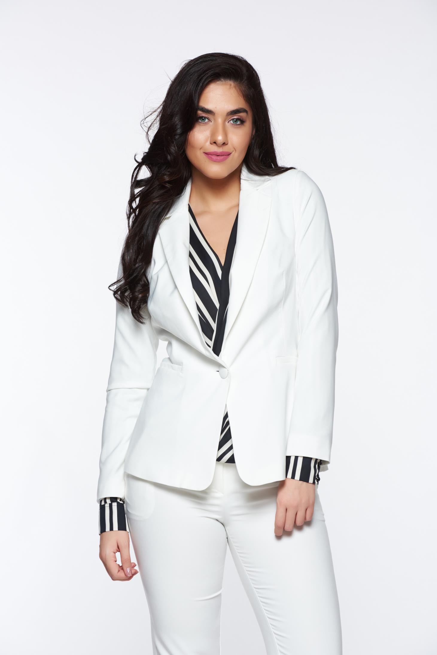 Artista white jacket with inside lining office accessorized pockets from non elastic fabric