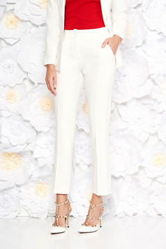Artista white trousers office with pockets with medium waist slightly elastic fabric with straight cut